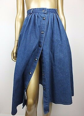 ONEOFF! Vintage RETRO SNAP BUTTON STRAIGHT FULL DENIM JEANS Skirt 10 XS