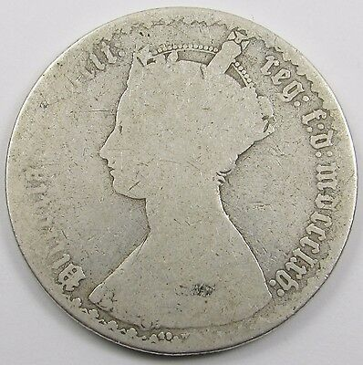 QUEEN VICTORIA SILVER GOTHIC FLORIN/ TWO SHILLINGS dated mdccclxv  - 1865
