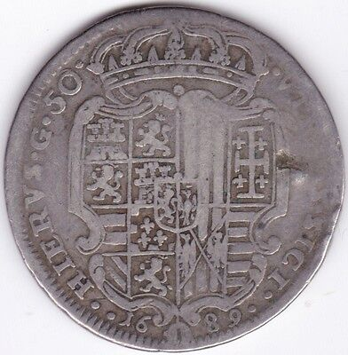 1689 Charles II Of Spain Italian States Sicily 1 Ducat***Collectors***Silver***