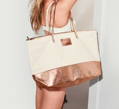 Victoria's Secret Rose Gold Canvas Tote Bag Getaway Vacation Weekender NEW