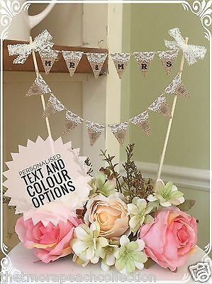 Mr And/& Mrs*hessian*lace*white Text*cake Topper*wedding*bunting*personalised*
