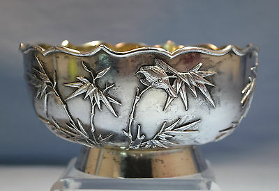Chinese 900 Gilt Silver Bowl Applied Bamboo Bird Motifs Sing Fat Canton C. 1910