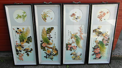 Set Of 4 Large Antique Vintage Chinese Pearl Shell Pictures