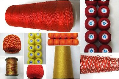 YELLOW & RED Thread Yarn Crochet Embroidery Knitting Lace Viscose Cotton Rayon