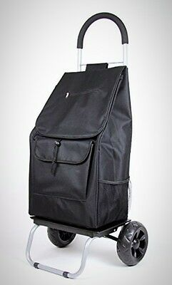 Trolley Dolly Black Shopping Grocery Folding Cart Mobile Wheels Solid Safe Bag
