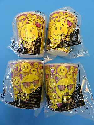 McDonald's Emoji 3D Hologram Plastic Cup Collectible 2016 HappyMeal Toy Set of 4