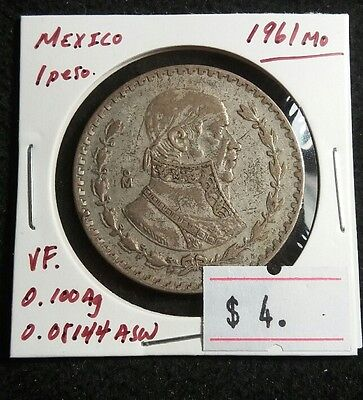 Mexico 1961 Peso Silver Really Nice CHEAP High Grade Mexican Coin Lot#389