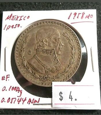 Mexico 1958 Peso Silver Really Nice CHEAP High Grade Mexican Coin Lot#370