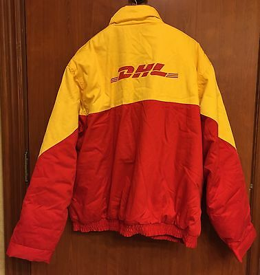 ☀VTG DHL Logo Employee Uniform☀Winter Jacket Mens Sz 4XL Quilted Coat Airlines