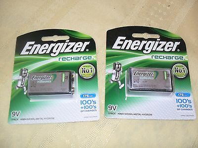 2x 1PK ENERGIZER RECHARGEABLE 9V 175MAH RECHARGE EXTREME BATTERIES BARGAIN PRICE