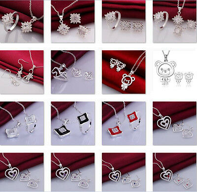 925 STERLING SILVER Fashion Jewelry Set Animal necklace earring ring Female gir