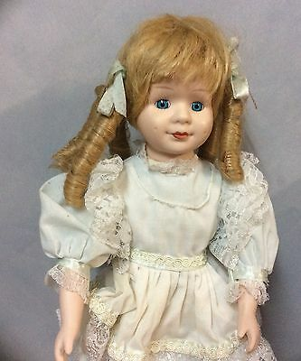 40cm Beautiful Porcelain Doll - Very Good Condition with stand