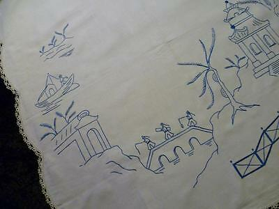 Beautiful Blue Willow Pattern Hand Embroidered Supper tablecloth
