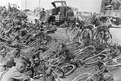 WWII German soldiers cyclists bike bikers WW2 Eastern Front 41 photograph photo
