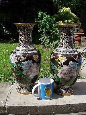 Massive 4 Kilo+ Pair Of Antique Chinese Cloisonne Pair Vase Birds Flowers Floral
