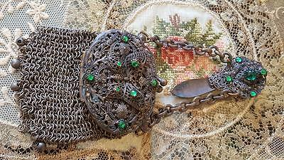 Antique Silver & Green Jeweled Butterfly Chatelaine Compact Purse Nice Filigree