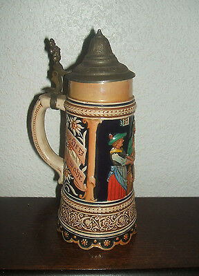 "VTG 8.5'' Musical Music Box Base German Beer Stein Tankard ""Der Trunk sei Klar"""