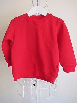 Size 2 Gorgeous Boys Plain Red Fleece Jumper.  Great Condition!  Bargain Price!