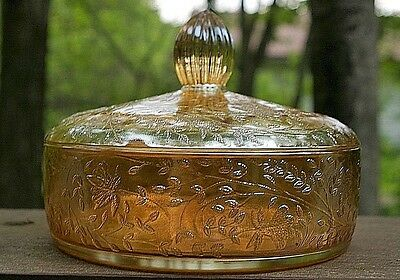Vintage 1950s Floragold Marigold Carnival Glass Covered Candy Dish Bowl perfect