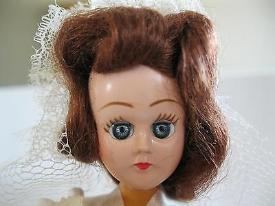 """1930's Antique Celluloid Bride Doll Red Brown Hair Blue Eyes 7"""""""
