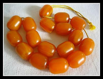 Antique Marbled Butterscotch Amber Bakelite Prayer Beads Necklace 168 Grams