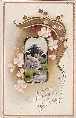 Antique Art Nouveau Style Framed Scene Embossed German Birthday Wishes Postcard