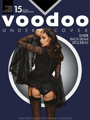 Voodoo Fashion Undercover Back Seam Stoking 15D Black Centre Back-seam H30522