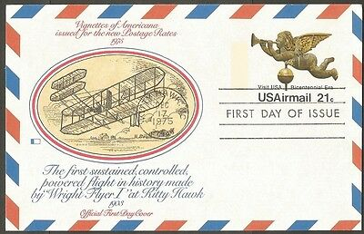 Us Fdc 1975 21C Visit Usa Air Mail Postal Card First Day Of Issue Kitty Hawk Nc
