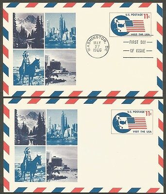 2-1966 Visit The Usa 11C Air Mail Postal Cards 1-First Day Of Issue