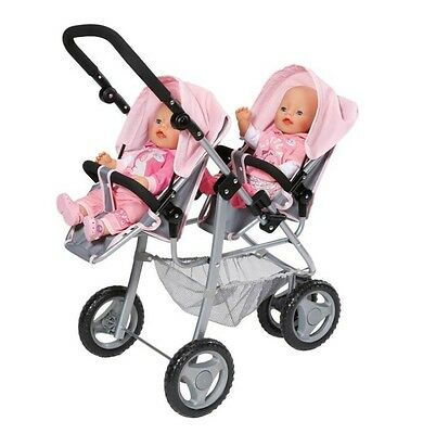 Baby Born Girls Infant Dolls Twin Double Buggy Jogger Stroller Push Chair Pram