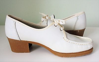 Vintage White Leather Shoes 6 Uk Made In Italy/unused