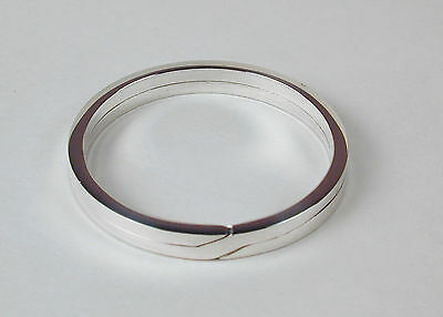 Sterling Silver Flat-Wire Split Ring Key Ring 32mm Made in USA Free US Shipping