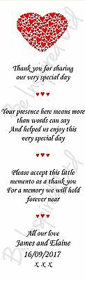 50 x Personalized Wedding Favour Scrolls, mini favours, Stationery, Thank you
