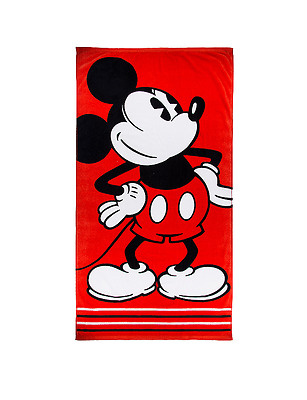 Disney Parks Mickey Mouse Classic Jacquard Red Beach Bath Towel NEW