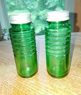 Depression glass green Salt & Pepper Shakers Vintage Set Metal Lids 4.5""