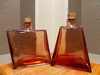 Vintage TWO [2] 2 Rose Color Hand Blown Glass Wine / Spirits Bottles with corks