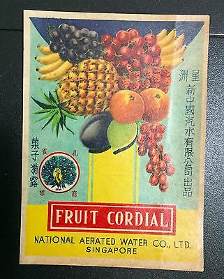 vintage Singapore National Aerated Water Co. Fruit Cordial soda bottle label