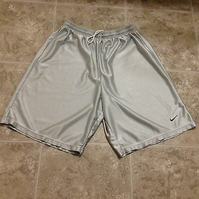 Boys Shiny Silky Athletic Silver/Light Gray Nike Shorts Size Large L (12-13)