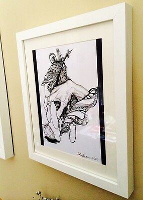Print  ORIGINAL WATERCOLOR &ink PAINTING MODERN CONTEMPORARY ABSTRACT UNIQUE ART