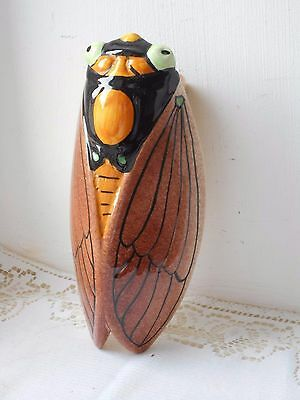 vintage French Vallauris cicada porcelain majolica wall mountable ornament