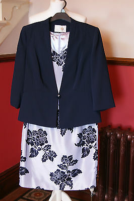 Jacques Vert Dress Jacket Shantung Blue Outfit Wedding Mother of Bride BNWT 20