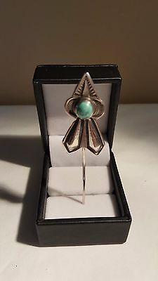 Vintage Fred Harvey Era Double Arrow Sterling Silver Turquoise Stick Pin (6.5 g)
