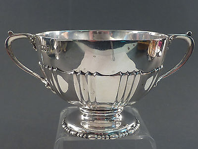 HEAVY GAUGE SILVER TWO HANDLED and HALF FLUTED BOWL