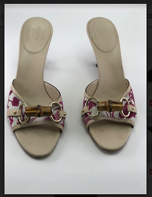 a67a5c60ce2 Gucci Horsebit Printed Canvas Slides with Bamboo Embellishment Vintage Size  81 2