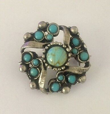 Vintage Silver Tone Turquoise Cabochon Scottish Celtic Brooch Pin