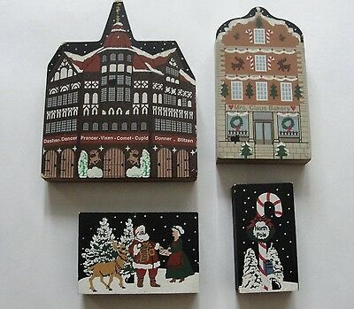 The Cats Meow Holiday Wood Village signed Faline 1997 - 4 pieces