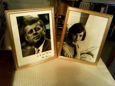 "John And Jacqueline Kennedy Framed Black And White 8"" X 10"" Signature Photos"
