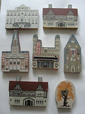 The Cats Meow Holiday Wood Village signed Faline 1996 - 7 pieces