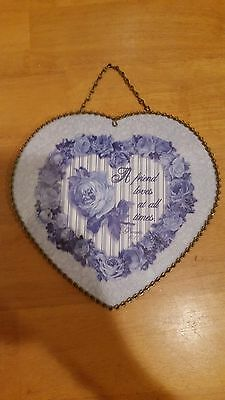 Decorative Blue Heart Flue Cover Friend Loves At All Times Proverb 17:17