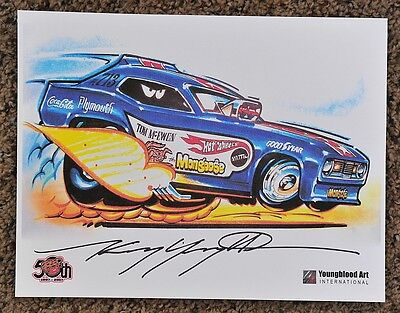 50TH KENNY YOUNGBLOOD SIGNED THE MONGOOSE TOM McEWEN FUNNY CAR HOT WHEELS PRINT